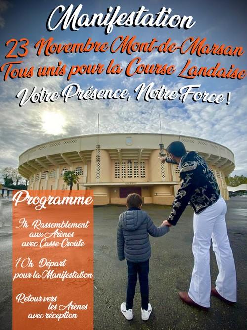 image : Affiche Tous unis pour la Course Landaise du 23 novembre 2019 - Mont de Marsan