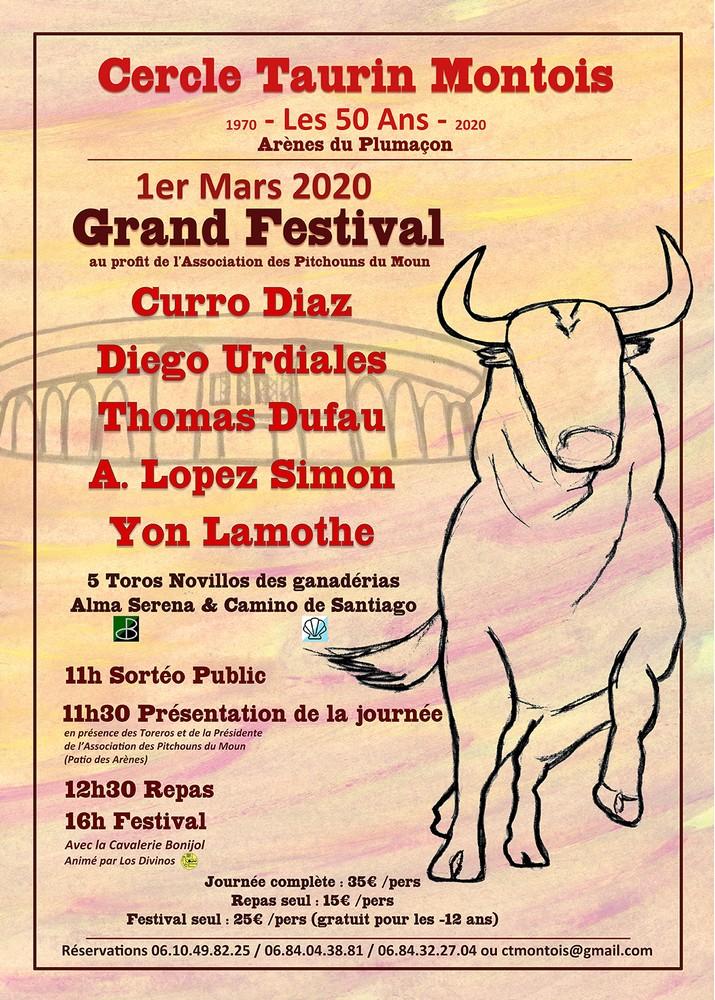 image : Affiche du Grand Festival du Cercle Taurin Montois du 1er mars 2020
