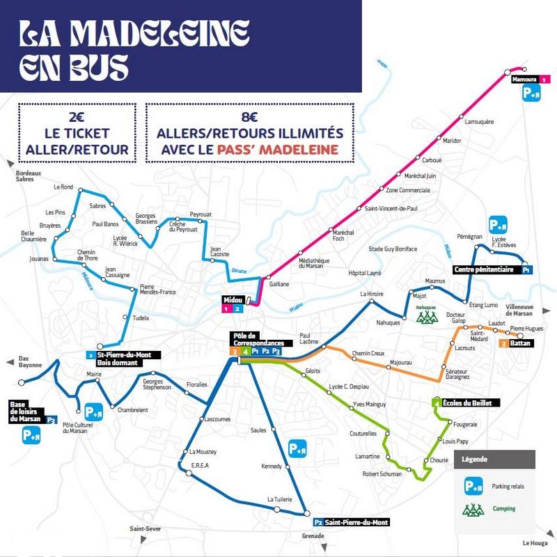 image : Plan des lignes des bus urbains montois
